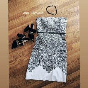 Ann Taylor • Black & White Strapless Dress